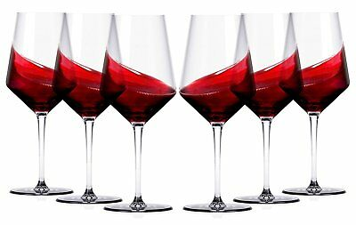 Miko Wine Glasses Set of 6 Lead Free Crystal Clear - Hand Made,18 oz (Cabernet)