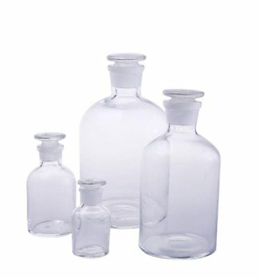 30ml-2500ml Glass Reagent Bottle Ground-in Stopper Narrow Mouth Transparent