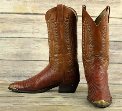 94fa23f379a DAN POST COWBOY Boots Brown Leather Lizard Mens Size 10 B Narrow Western  Vintage