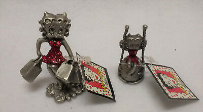 Set of 2 Betty Boop Pewter/Red Glitter Collectible Figures Circa 1998