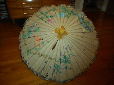 Vintage Hand Painted Chinese Decorative Umbrella Birds and Flowers