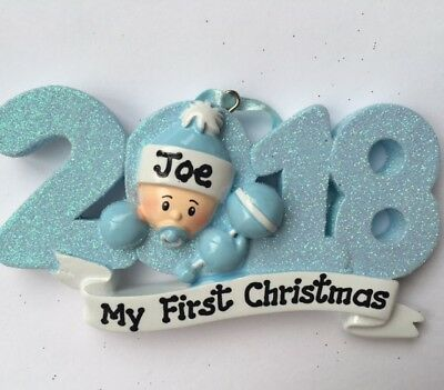 2018 Personalized Baby Boy's First Christmas Ornament- Newborn Gift