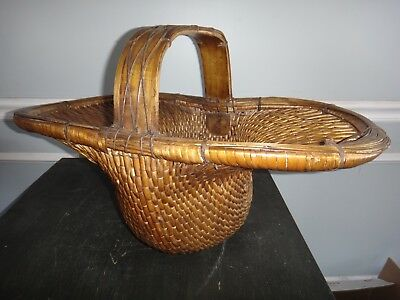 Large Chinese Asian Antique Woven Basket Rare Unusual Shape Detailed Wood Handle