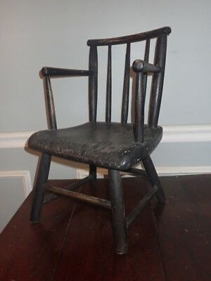 Antique Child Doll Chair Early 19th Century Rod Back Windsor Armchair Miniature