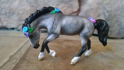 Custom Breyer Stablemate Rivet to Dapple Grey Romping Mare with Flowers