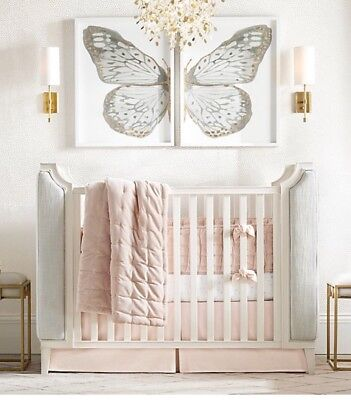 Restoration Hardware Crib Skirt Tufted Velvet In Petal Pink NEW