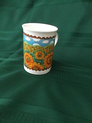 Crown Trent coffee cup. Fine bone English China with sunflowers.