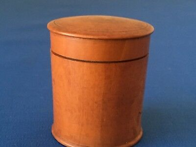 Victorian boxwood case with screw top lid and white porcelain inkwell within