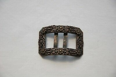 Vintage/Antique Shoe Buckle Brass/Bronze Finish Flower Design