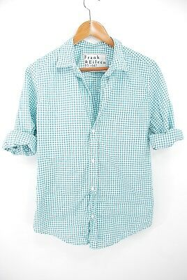 655776d23 Frank Eileen Barry LS Button Down Shirt Blouse Cotton Turquoise Teal Check  Large