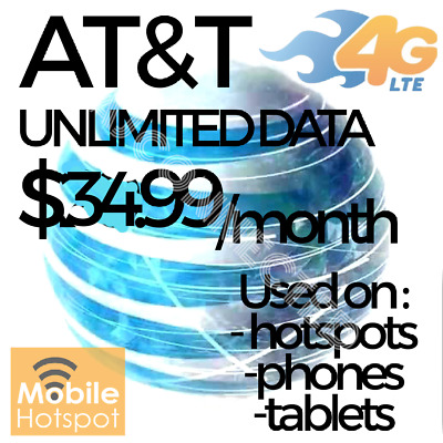 Unlimited At&t 4g Lte Sim Card Data Plan NO THROTTLING 29.99/mo Hotspots/Phones