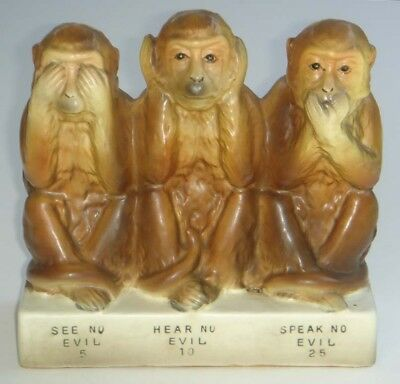Vintage Antique Old Large Rare Ceramic Pottery Wise Monkeys Coin Money Bank