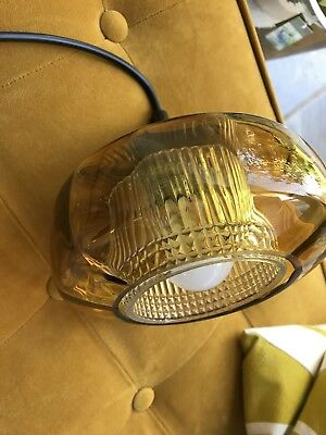 Mid Century Small Vintage Pendant Light Made of Golden/Mustard Glass, 1960s