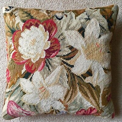 Vintage Floral Wool Needlepoint Pillow