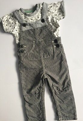 Nutmeg Short Sleeve Top And Fully Lining Dungarees Age 12-18 Months