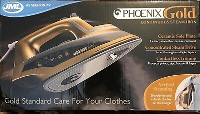 Jml Phoenix Gold Steam Iron Ceramic Soleplate Continuous Steam Iron Clothes