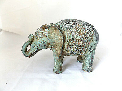 Beautiful Antique Vintage Indian Good Luck And Fortune Bronze Elephant Sculture.