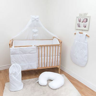 10 Pc Baby Bedding Set with 4-sided Bumper (fits 140x70cm Cot Bed) - Plain White