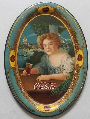 """1909  Coca Cola Advertising Tip Tray """"exhibition Girl"""" Near Mint"""