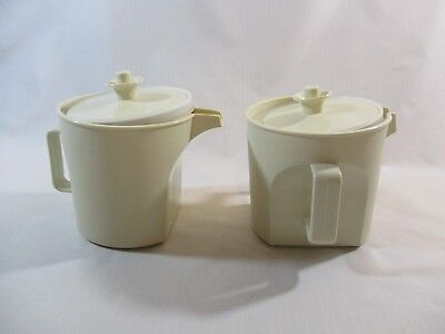 Vtg. Tupperware Almond Creamer & Sugar Set 1414/1415