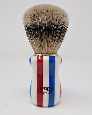 Multicolored Resin Silvertip Brush By Zenith Red White & Blue 26 x 51mm Knot P20
