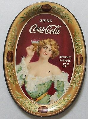 "1907 Coca Cola Advertising Tip Tray 'Relieves Fatigue"" Pretty Girl Beautiful"