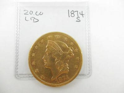 $20 Dollar Gold Coin Liberty Head Double Eagle 1874-S Early Date