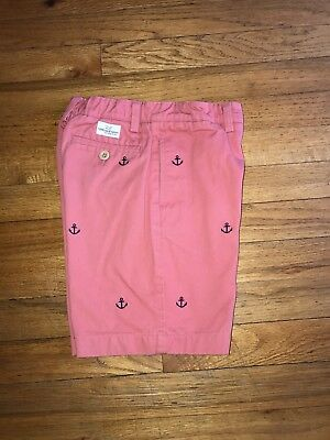Boys 7 Vineyard Vines Shorts Navy Embroidered Anchors Washed Vintage Red Pink