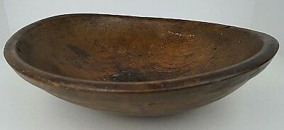 "Antique Primitive Turned 13"" Wooden Dough Bowl Old Folk Art Country Farmhouse"