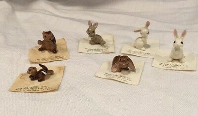 Vintage Miniature Hagen Renaker lot 4  Rabbits White/Brown, 2 Chipmunks W/ Cards