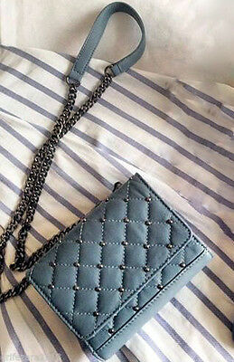 ffa39711 NWT ZARA BLUE Quilted Leather Cross Body Bag Studded Chain Messenger  4115/104