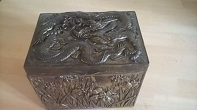 Antique Chinese silver plate tea caddy /casket dragon and flowers makers mark