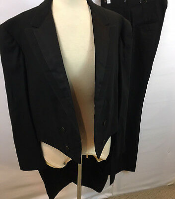 Vtg  50'S 2 Pc Black Wool Tailcoat Jacket Pants Suit Tuxedo Set SZ 42R 35W  32L