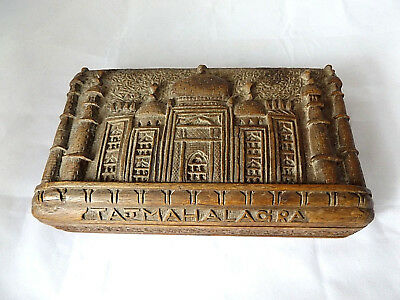 Beautiful Antique Vintage Indian Hand Carved Wooden Tajmahal Agra Trinket Box.