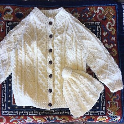 Aran Islands Hand Knit Cardigan Sweater & Hat for Child Ages 5-7, NWOT
