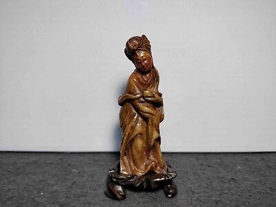 Rare Antique Chinese Shoushan Hand Carved Stone Guanyin Figure Xix Century