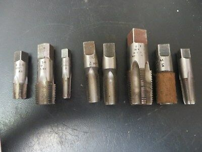 Metal Threading Taps-Butterfield-Greenfield-Sossner-DTC-CardUSA-lot of 8Vintage