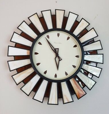 Rare Mid Century Modern Robert Abbey Wall Clock w/ Stained Glass Starburst Rays