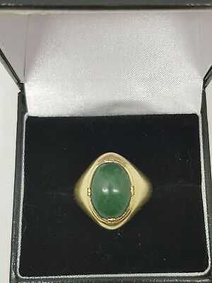 18ct yellow gold Green Stone Ring