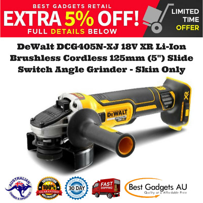 "DeWalt DCG405N 18V XR Li-Ion Brushless Cordless 125mm (5"") Slide Switch Angle Gr"
