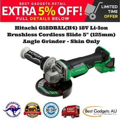 "Hitachi G18DBAL(H4) 18V Li-Ion Brushless Cordless Slide 5"" (125mm) Angle Grinder"
