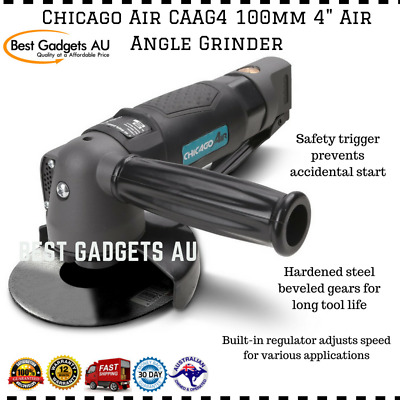 """Chicago Air CAAG4 100mm 4"""" Air Angle Grinder Built-in Regulator Safety Trigger"""