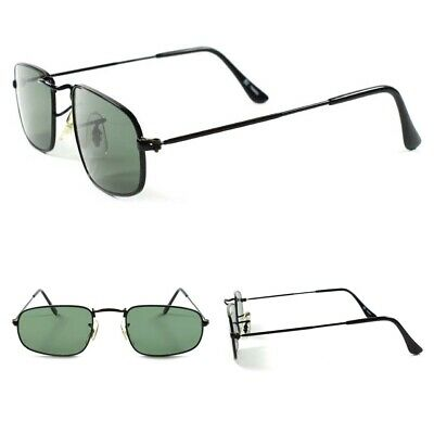 f04e6b454c Classic Mens Small Stylish Rectangle Vintage Retro 80s Black Aviator  Sunglasses