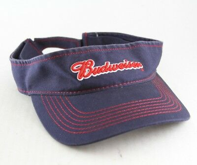 Budweiser Beer Sun Visor Anheuser Busch Blue and Red Hat w/ Puffy Embroidery