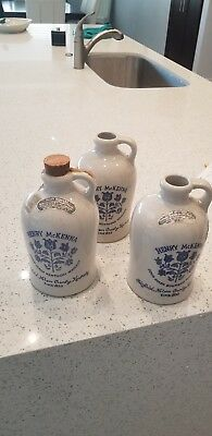 3 Vintage HENRY McKENNA 4/5 Quart Kentucky Whiskey Jug Straight Bourbon.