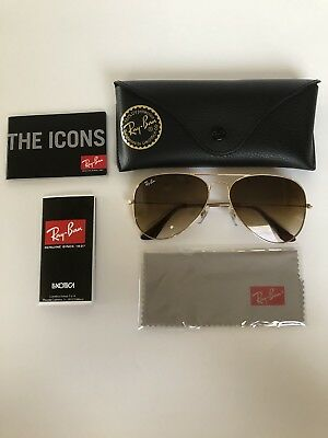 New Aviator Ray Ban!! RB3025 001/51 58mm Brown Lens Gold Frame.