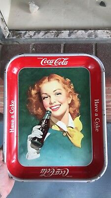 Vintage Advertising Coca Cola Coke Tray~ 1940's - 1950's~Red Haired Woman~ No R