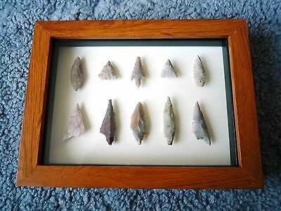 Neolithic Arrowheads in 3D Picture Frame, Authentic Artifacts 4000BC (0898)