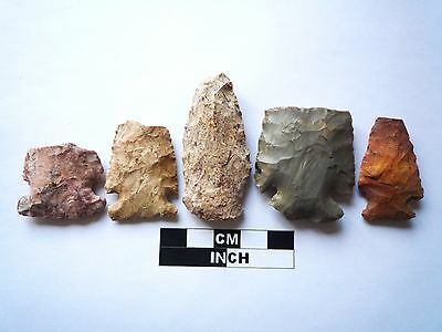 Native American Arrowheads x 5, Genuine Archaic Artifacts, 1000BC-8000BC (971)