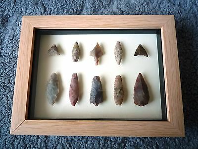 Neolithic Arrowheads in 3D Picture Frame, Authentic Artifacts 4000BC (0869)